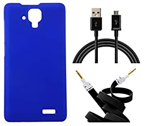 Toppings Hard Case Cover With Aux Cable & Data Cable For Lenovo A536 - Blue