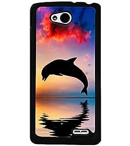 Printvisa Dolphin Diving At Sunset Back Case Cover for LG L90 Dual D410::LG L90 D405