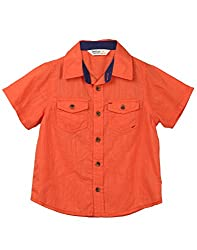 Beebay Boys 100% Cotton Woven Orange Slub Shirt (B0216128001713_Orange_7 Years)