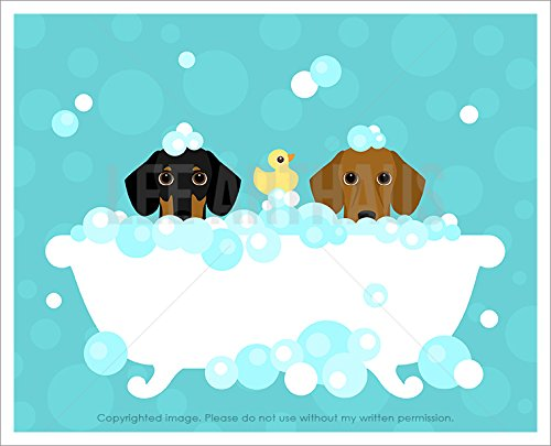 209D Two Dachshund Dogs in Bubble Bath Bathtub UNFRAMED Wall Art Print by Lee ArtHaus (Weiner Dog Picture compare prices)