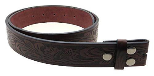 "Leather Belt Strap with Embossed Western Scrollwork 1.5"" Wide with Snaps (Brown-M)"