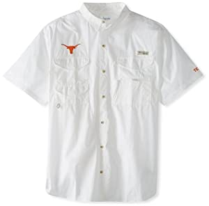 Columbia NCAA Men's Texas Longhorns Collegiate Bonehead Short Sleeve Shirt (White, XX-Large)