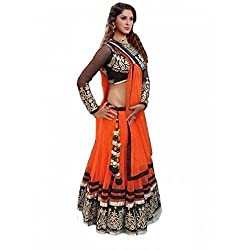 Sanjana Women's Net Lehenga Choli (KS1006_Free Size_Orange)