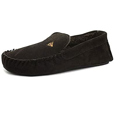 Mens Famous Dunlop EVERETT Suede Moccasins (CHOCOLATE, MENS UK 10)