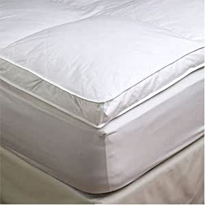 """Amazon 2"""" Queen Goose Down Mattress Topper Featherbed"""