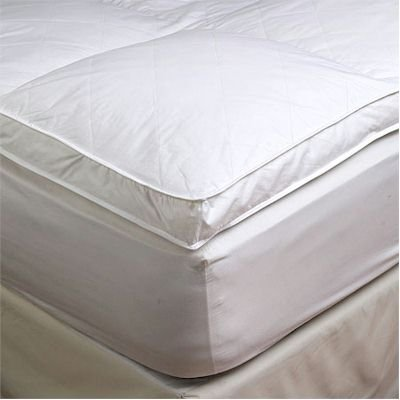 "Best Review Of 2"" Queen Goose Down Mattress Topper Featherbed / Feather Bed Baffled"