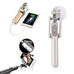 Selfie Stick with Built-in 3200 mah powerbank, Uniwit® LED fill Light,Rear Mirror, Wired Control, 270 Angle Rotation,Compatible with iPhone Samsung and other Devices - White