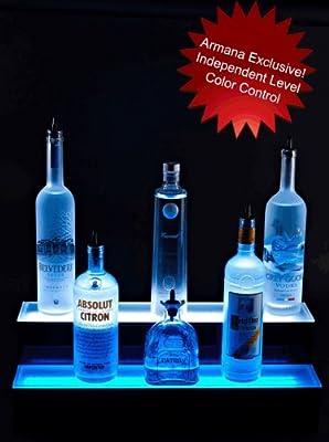 """2 Tier LED Lighted Liquor Bottle Display Shelf: 24"""" Long"""