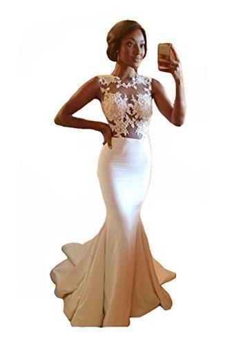 Snow Lotus Women's White Lace Appliques Ruffles Floor Length Evening Gown (16w)