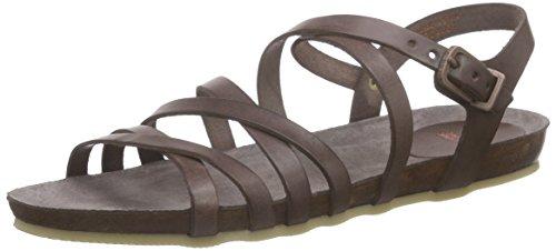 Fred de la BretoniereFred elegant horizontal strap flat comfort sandal MB - Sandali a Punta Aperta Donna , Marrone (Braun (Moka)), 38