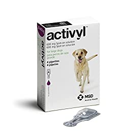 ACTIVYL Dog 600 mg Spot On Flea Treatment Large Dogs 44-88lbs 4 Pipettes