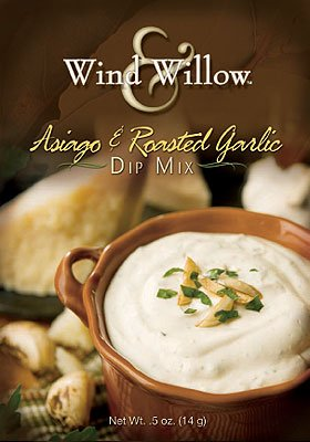 Wind and Willow Asiago & Roasted Garlic Dip Mix - .4 Ounce (4 Pack) (Garlic Snack Mix compare prices)