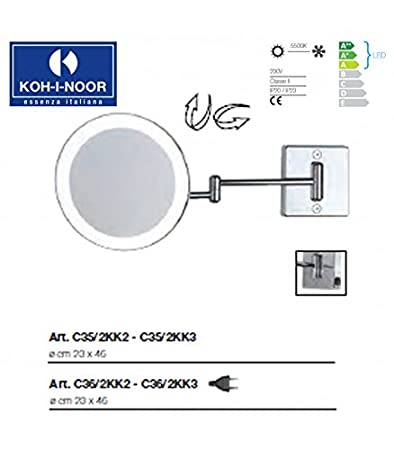 Koh-I-Noor C36/2KK3 Specchio Ingranditore X 3 Discolo LED, Cromo