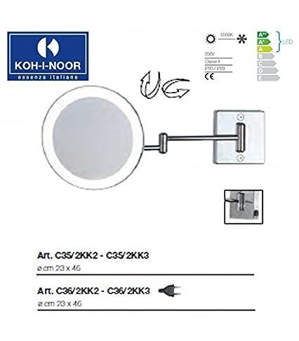 Koh-I-Noor C35/2KK2 Specchio Ingranditore X 2 Discolo LED, Cromo