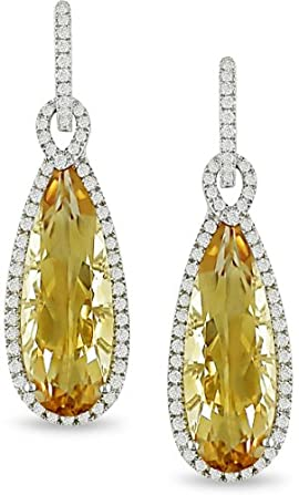 14k Gold Citrine and 1ct TDW Diamond Earrings