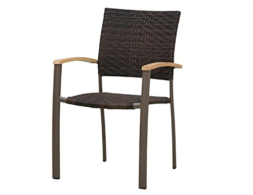 Siena Garden 120173 Stapelsessel Aros Aluminium-Gestell bronze Gardino®-Geflecht maron Armlehnen Teak FSC® 100%