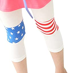 CM-Kid Little Girls LOVE USA Flag Cropped Leggings Pathed Skinny Tights 12-24M