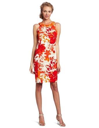 Jessica Howard Women's Floral Shift Dress, Orange, 8