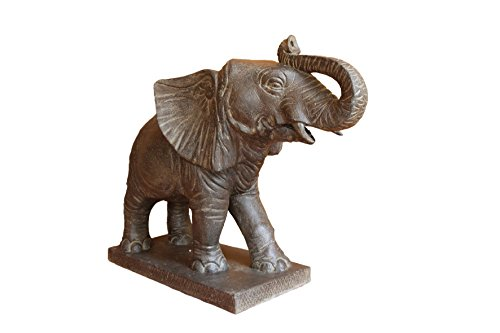 STATUE ELEPHANT CRACHEUR 72 CM PIERRE RECONSTITUEE