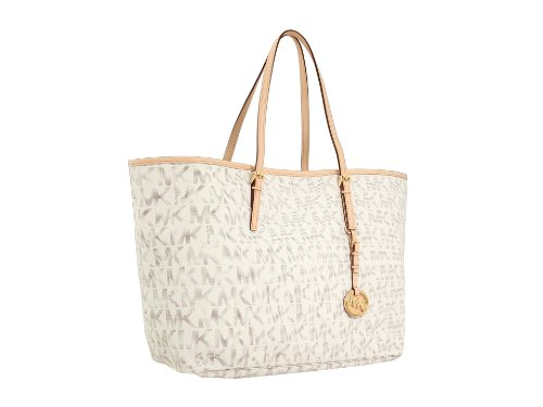 Michael Kors Jet Set Travel Logo Medium Tote Vanilla