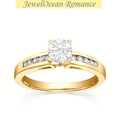0.58 Carat Affordable Diamond Engagement Ring with Round cut Diamond on 14K Yellow gold