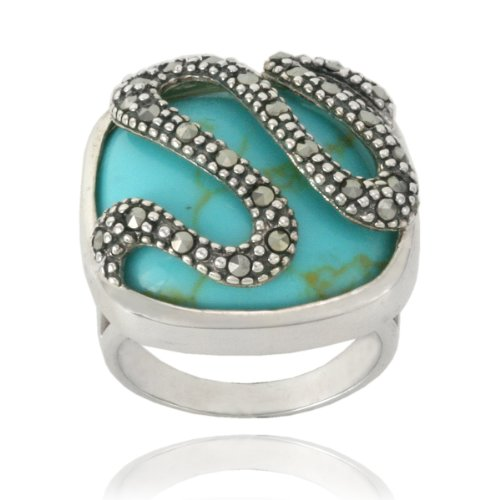 Sterling Silver Marcasite and Synthetic Turquoise Snake Ring, Size 8