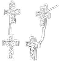 Finecraft Cross Floater Earrings with Cubic Zirconia