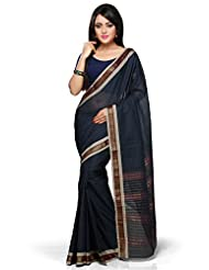 Utsav Fashion Women's Dark Blue Cotton Handloom Saree With Blouse