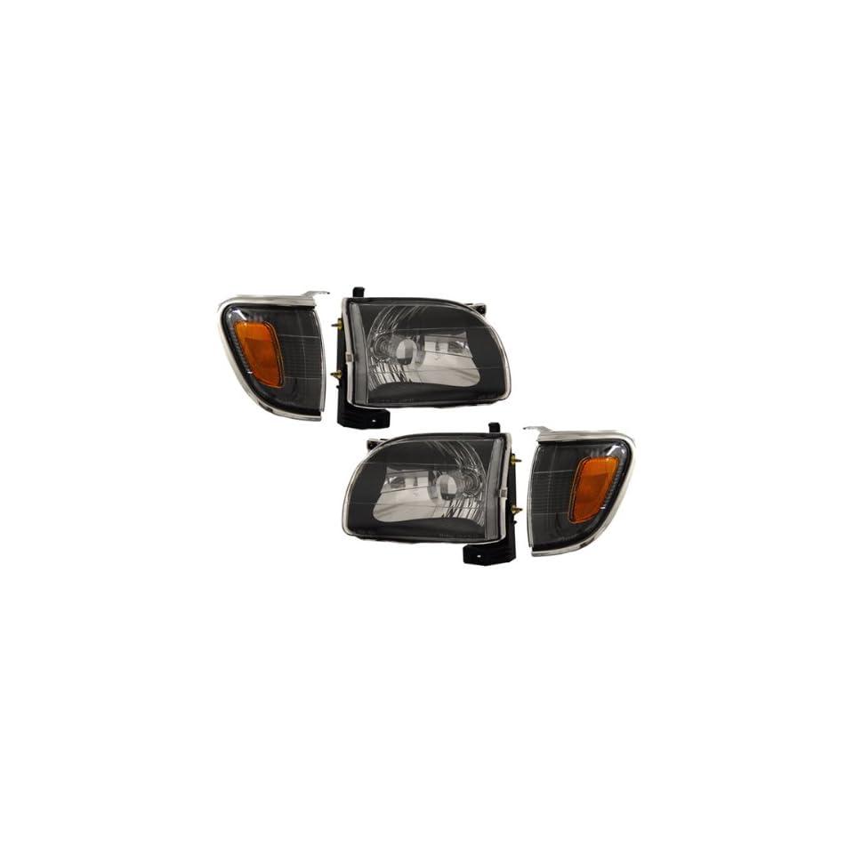01 04 Toyota Tacoma Black Headlights /w Amber Corner Light