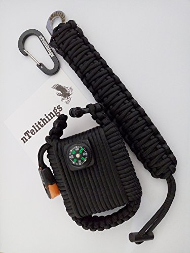 Emergency Paracord Mini Survival Tool Grenade With Paracord Tiny Knife And Fire Starter Bracelet COMBO for men or women. (BLACK)