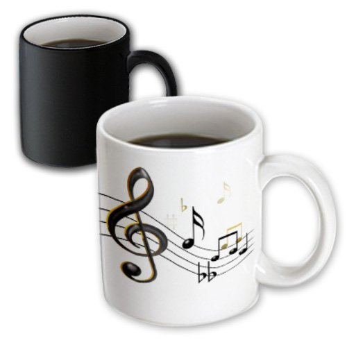 Mug_55502_3 777Images Designs Graphic Design Music - Music Notes Clef, Sixteenth, Quarter Notes, Beamed Notes, Flats And Sharps In Black And Gold - Mugs - 11Oz Magic Transforming Mug