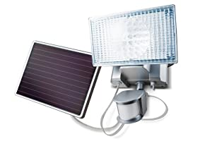 MAXSA Innovations 44449-L Silver 100-LED Silver Solar-Powered Security Floodlight with Motion-Activation
