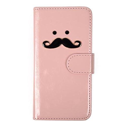 (ライフィーズ) Lifees iPhone 6s / 6 / 6s Plus / 6 Plus 手帳型ケース 折りたたみ式 PUレザー ヒゲ 髭 ビジュー ラインストーン ハンドメイド (iPhone 6s / 6, ピンク)