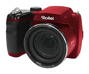 Rollei Powerflex Digitalkamera 210 HD (16 Megapixel, 21-fach optischer Zoom, 25 mm Weitwinkelobjektiv, HD Video, 7,62 cm (3 Zoll) Display) rot