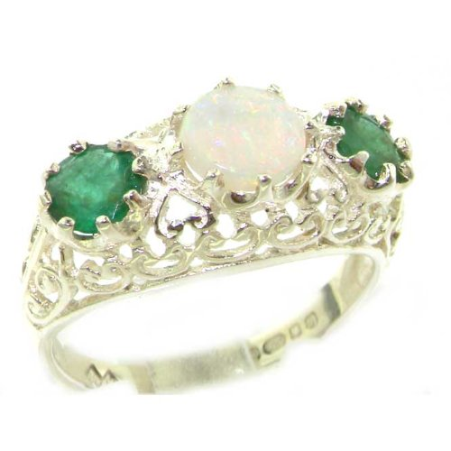Quality Solid Sterling Silver Genuine Opal & Emerald English Filigree Trilogy Ring - Size 12 - Finger Sizes 5 to 12 Available - Suitable as an Anniversary ring, Engagement ring, Eternity ring, or Promise ring