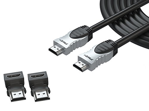 Pwr+ 25 Ft 4K-HDMI-Cable 2.0 with 90-Degree-Adapter for PS3-PS4-Xbox-360 Apple-TV-Laptop-Projector-Computer-Monitor-PC: High-Speed Max Resolution Ultra-Full-HD-2160p-1080P Ethernet 3D