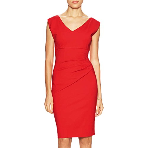WOOSEA® Women's Summer V Neck Sleeveless Wear to Work Casual Party Pencil Dress (Small, Red)