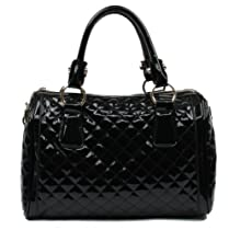 Hot Sale Scarleton Quilted Patent Faux Leather Satchel H106401 - Black