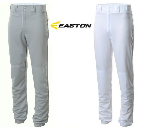 Details about Easton Youth Pro Sheen Style Baseball Pants Traditional Fit Grey or White (White, Youth XL)