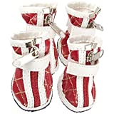 Alcoa Prime 2 Pairs Pet Dog Red White PU Zipped Boots Argyle Shoes Size 4