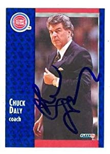 Chuck Daly autographed basketball card (Detroit Pistons) 1991 Fleer #58 by Autograph Warehouse