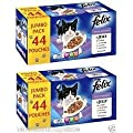 FELIX POUCHES TWO X JUMBO PACKS of 44 = 88 Mixed Jelly Selection Sold by Pets You Have