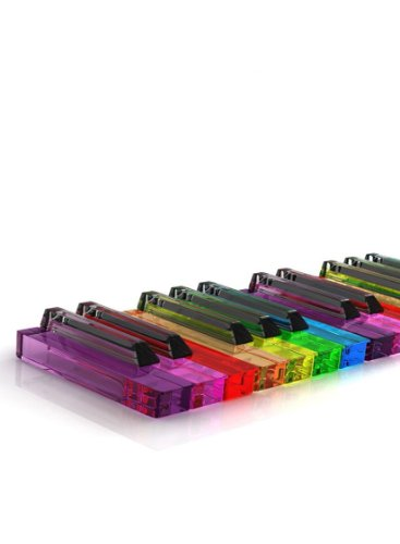 Rectangle Refrigerator Magnet - Neon Bright Colored Transparent Clear Piano Keys (Colored Fridge compare prices)