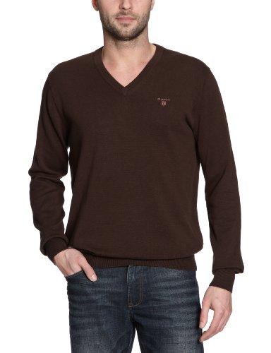 Gant - Maglia con collo a V, manica lunga, uomo, Marrone (Braun (Dark Brown)), XL