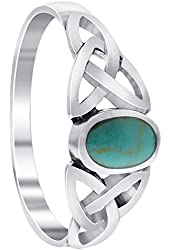 925 Sterling Silver 7mm Reconstituted Turquoise Celtic Knot Ring