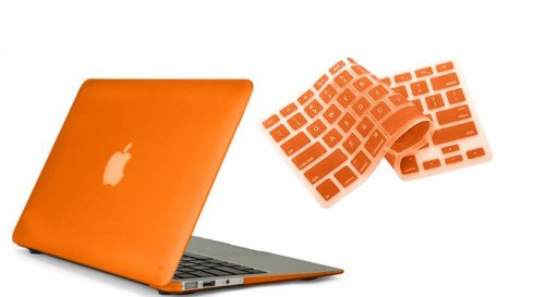 """Ruban™ 2 In 1 Hard Case Cover And Keyboard Cover For Macbook Air 13-Inch 13"""" A1369 A1466 (Matte Orange)"""