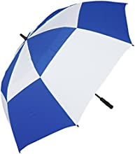 RainStoppers W026 Auto Open Double Canopy Windbuster Golf Arc Umbrella RoyalWhite 68quot