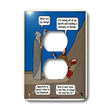 Lsp_19615_6 Rich Diesslin The Cartoon Old Testament - Zephaniah 1 7 18 Battle Of Evermore Bible Stairway To Heaven Led Zeppelin - Light Switch Covers - 2 Plug Outlet Cover