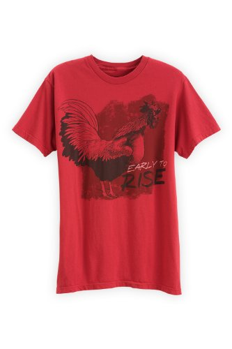 Green 3 Apparel Men'S Organic Usa-Made Rooster Tee (L, Red) front-449294