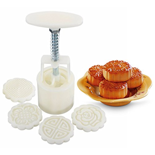 KINGSO Round Mooncake DIY Moon Cake Mold Cookie Cutter 4 Flower Plant Stamps Decoration